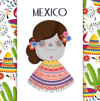 Catrina mit ponchohutkaktus blüht mexiko-traditionelle ereignisdekorationskarten-vektorkarte