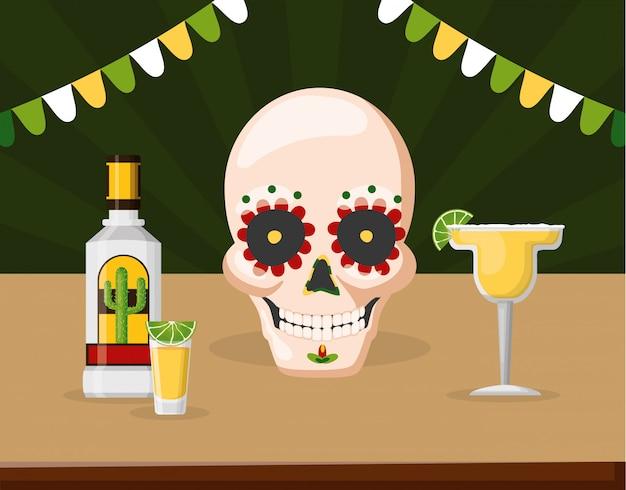 Catrina-schädel mit tequila, zitrone und cocktail margarita, mexiko