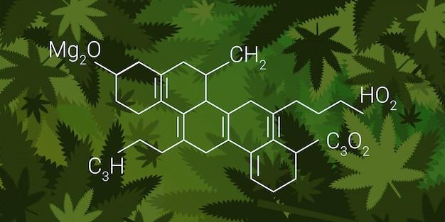 Cbd cannabidoil thc chemische formel cannabis hinterlässt hintergrund medizinisches marihuana drogenkonsum konzept horizontal