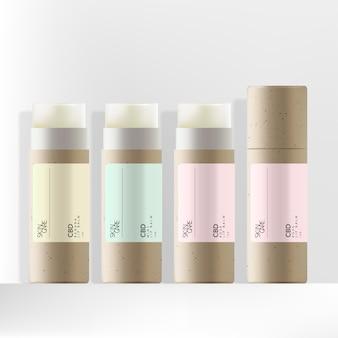 Cbd-lippenbalsamverpackung aus recyceltem kraftpapier mit minimalem pastelletikett