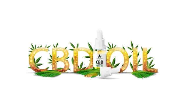 Cbd-öl, logo-titel mit transparenter glasflasche mit medizinischem cbd-öl und hanfblatt, verziert mit cannabisblättern, isoliert auf weiß