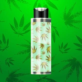 Cbd-ölflasche mit cannabis-muster
