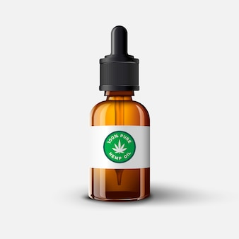 Cbd ölglasflaschenschablone mit cannabisblatt