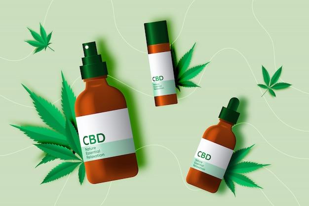 Cbd-produkt mit cannabidiol-blättern