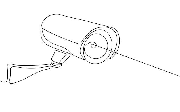 Cctv-datenschutz-digitalkamera. einzeilige monochrome durchgehende einzeilige kunst. sicherheitsvideo für unternehmen, das einen gefahrenmonitor sucht. ausrüstung-privatsphäre-konzept-vektor-illustration.