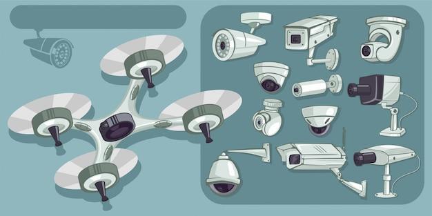 Cctv-vektor-icons gesetzt. sicherheit und überwachung von kameras zum schutz und zur verteidigung von heim und büro. cartoon illustration isoliert