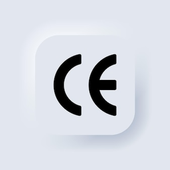 Ce-symbol. zertifikatszeichen. elemente für mobile konzepte und web-apps. neumorphic ui ux weiße benutzeroberfläche web-schaltfläche. neumorphismus. vektor-eps 10.