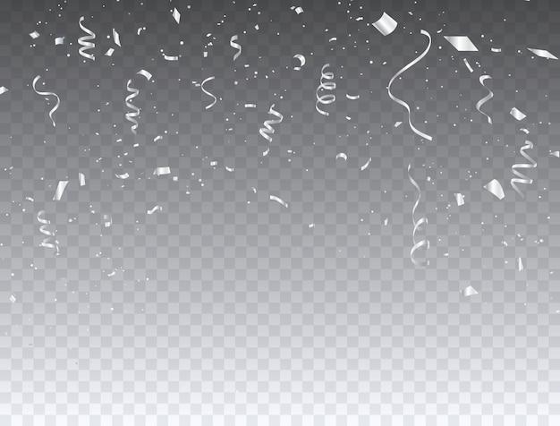 Celebration konfetti und weiße bänder.