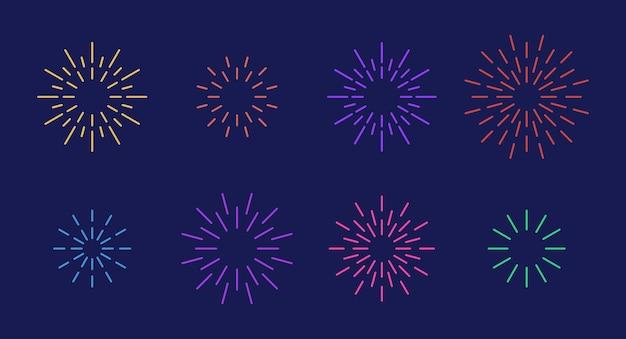 Celebration star fireworks burst pattern set flache bunte sternförmige feuerwerksmustersammlung
