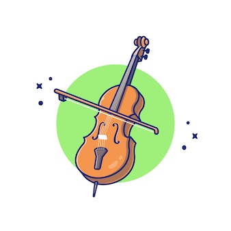 Cello violine cartoon icon illustration. musikinstrument icon concept isolated premium. flacher cartoon-stil
