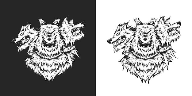 Cerberus head schwarz-weiß-detailillustrationsvorlage hand gezeichnet