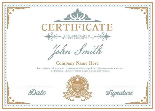 Certificate of achievement vintage frame.