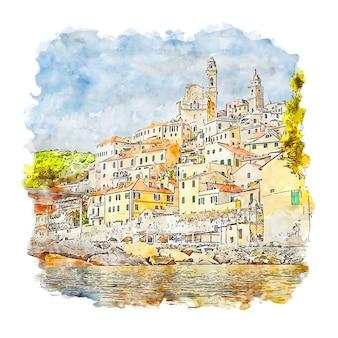 Cervo liguria italien aquarell skizze hand gezeichnet