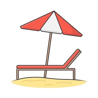 Chaiselongue und regenschirm