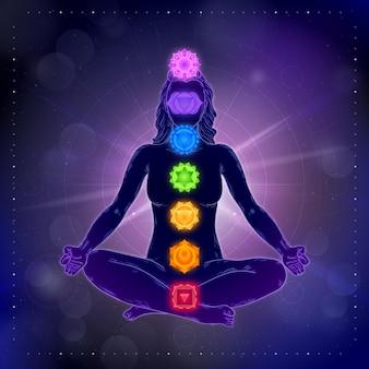 Chakra und lotus position bokeh-effekt