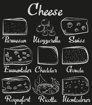 Chalk board geschnittenes käse sortiment