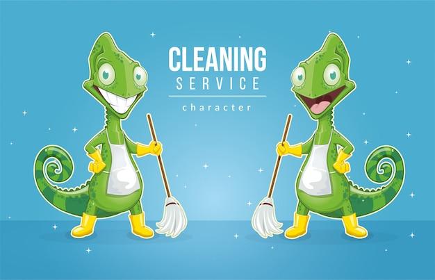 Chamäleon als charakter für reinigungsunternehmen