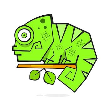 Chamäleon, das auf einem ast sitzt. reptil-vektor-illustration