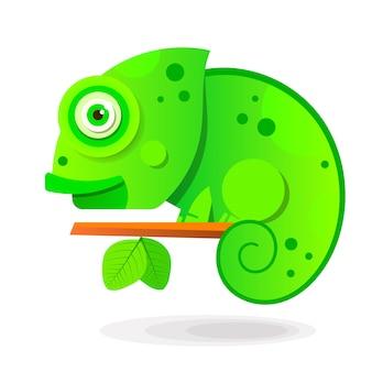 Chamäleon, das auf einem ast sitzt. reptil-vektor-illustration Premium Vektoren