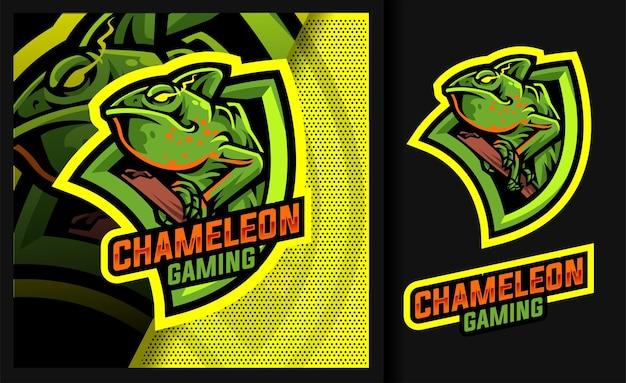 Chamäleon-gaming-maskottchen-logo