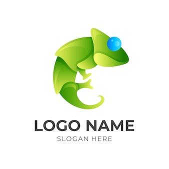 Chamäleon-logo-design mit 3d-farbstil in grün und blau Premium Vektoren