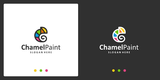 Chamäleon-logo-inspiration und aquarell-logo. premium-vektoren.