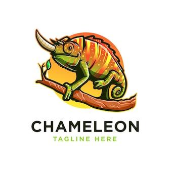 Chamäleon maskottchen logo vorlage für unternehmen