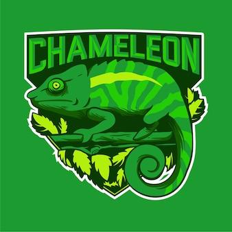 Chamäleon-maskottchen-logo