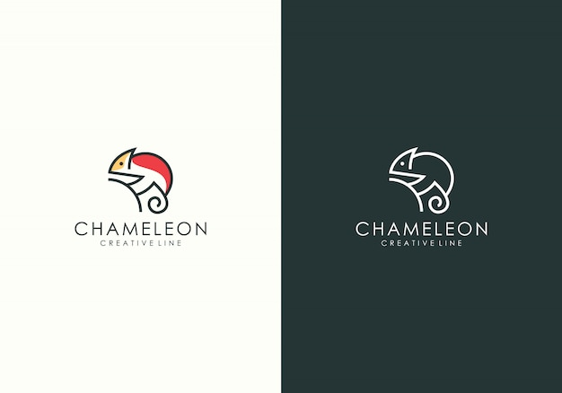 Chamäleon moderne linie kunstlogo