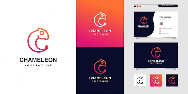 Chamäleon-umrisslogo und visitenkartenentwurf, visitenkarte, farbverlauf, symbol, modern, tier, premium