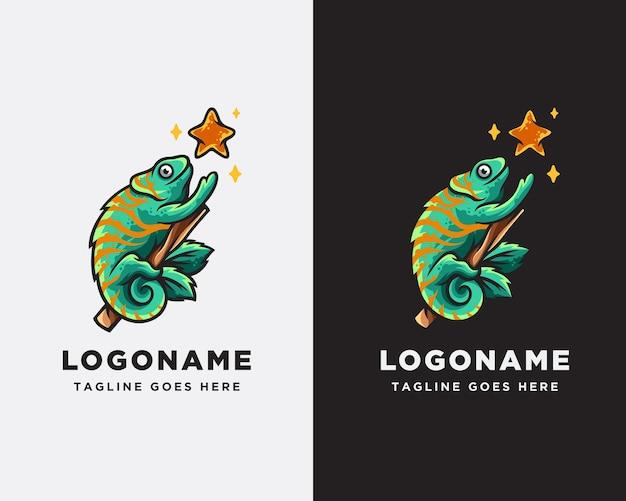 Chamäleon- und stern-logo-design