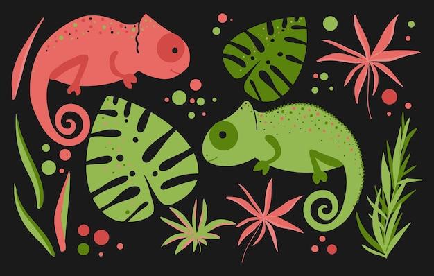 Chamäleons sind grün und rosa und haben tropische blätter. cartoon-aufkleber-set für kinder mit chamäleons und tropischen blättern.