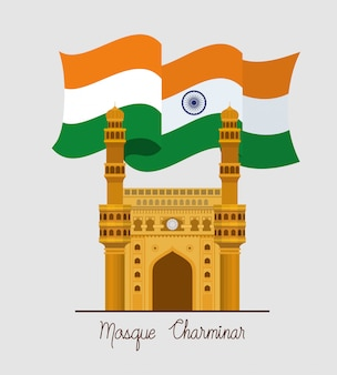 Chaminar tempel der indischen moschee mit markierungsfahne
