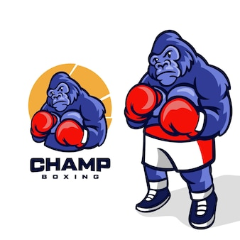 Champ boxing maskottchen logo-design