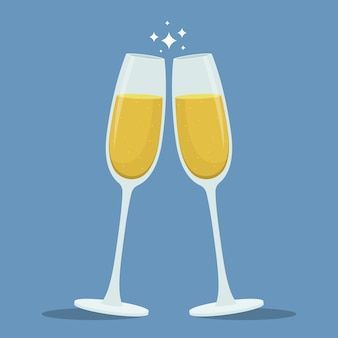Champagner toast gläser illustration