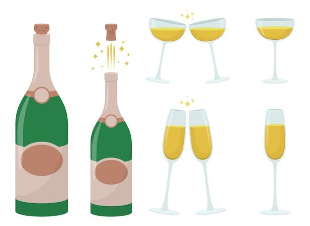 Champagnerflasche und glas, lokalisiert auf weißem hintergrund