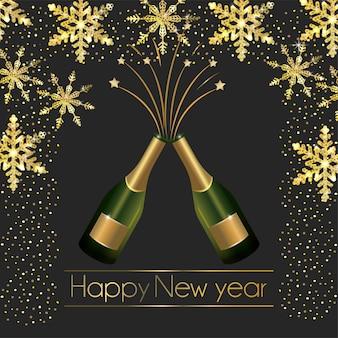 Champagnerflaschen mit flocken und sternenschmuck zum neuen jahr