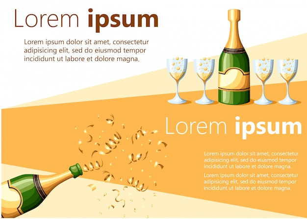 Champagnerflaschenexplosion in goldfolie und gegossen in gläserillustration auf weißem und gelbem hintergrund mit platz für ihre textwebseite und mobile app