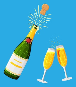 Champagnerflaschenöffnung mit pop- und korkenfliegen. champagnerexplosion, flaschenknall und sprudel. konzept der trinkparty, geburtstag, hochzeit, weihnachten, neujahrsfeier. flache vektorillustration