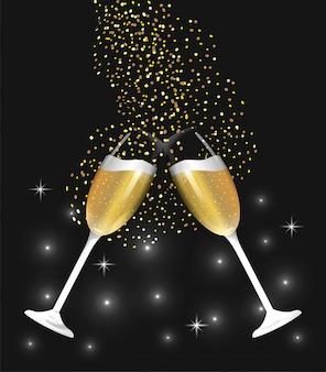 Champagnerglas, das spritzt, um neues jahr zu feiern