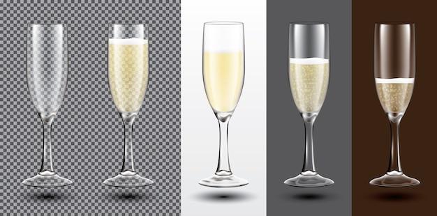 Champagnerglas set auf verschiedenen hintergründen