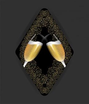 Champagnerglas zur feier des neuen jahres