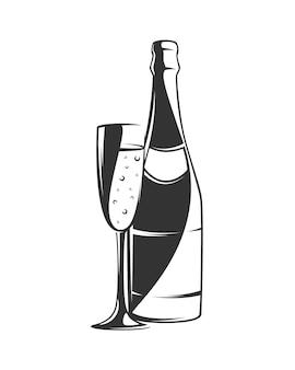Champagnerillustration in der hand gezeichnet