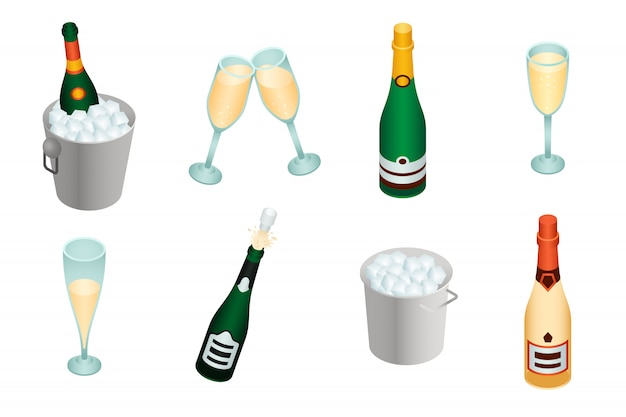 Champagnerset im isometrischen stil