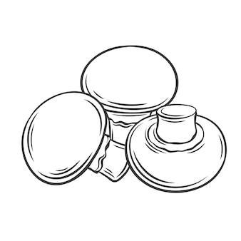 Champignon pilz umriss monochrome illustration