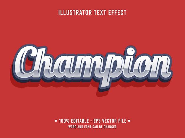 Champion bearbeitbarer texteffekt im metallic-stil mit silberner farbe