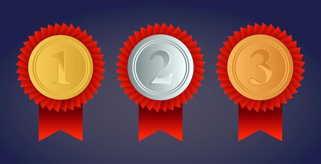 Champion gold-, silber- und bronze-medaillen mit roten bändern