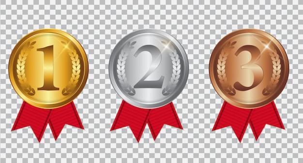Champion gold-, silber- und bronzemedaille mit roter schleife