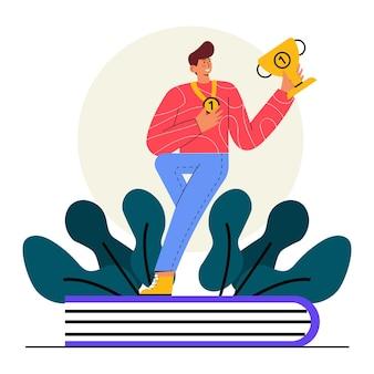 Champion in der klasse flach illustration