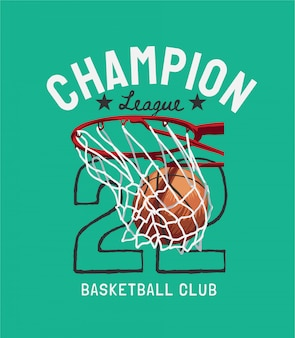 Champion league slogan mit basketball in der hoop cartoon illustration